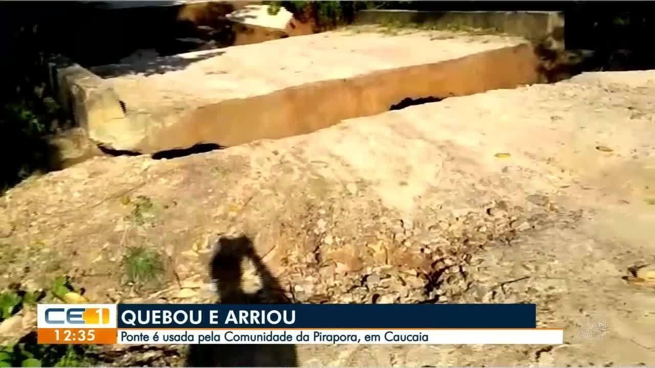 Chuva derruba ponte e deixa comunidade ilhada no Ceará