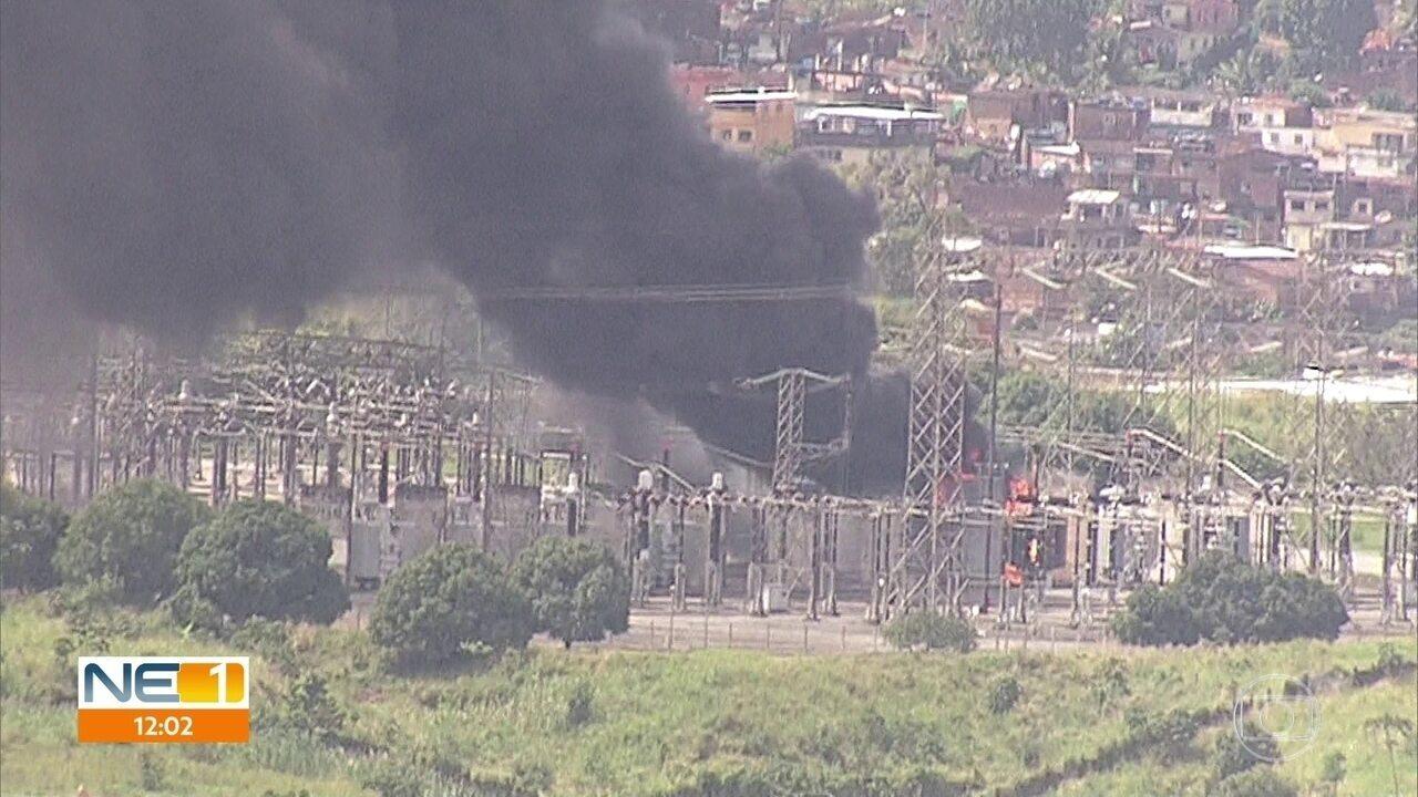 Incêndio atinge transformador da subestação da Chesf em Jaboatão dos Guararapes