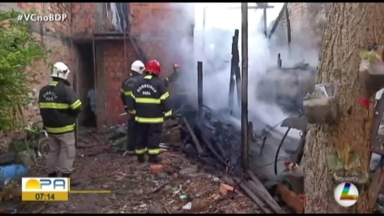 Incêndio atinge duas casas no bairro do Jurunas, em Belém