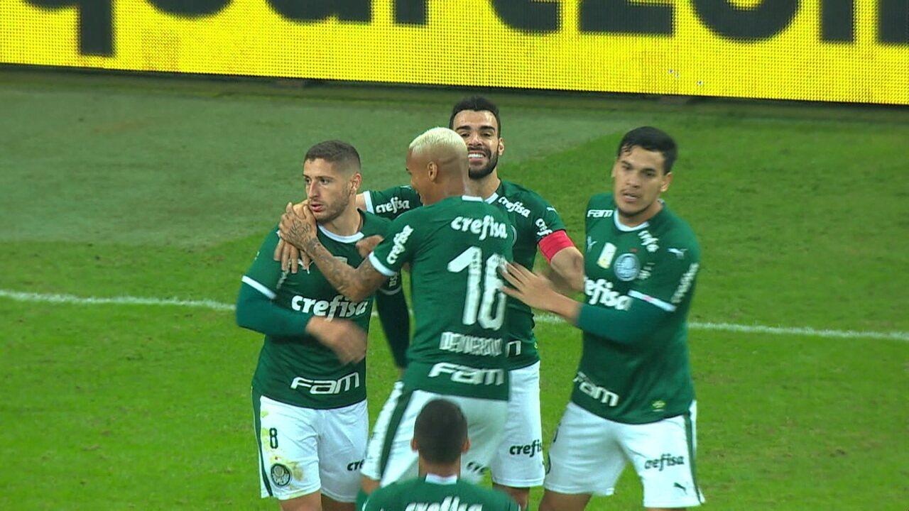Gol do Palmeiras! Zé Rafael abre o placar de cabeça, aos 19' do 1º tempo