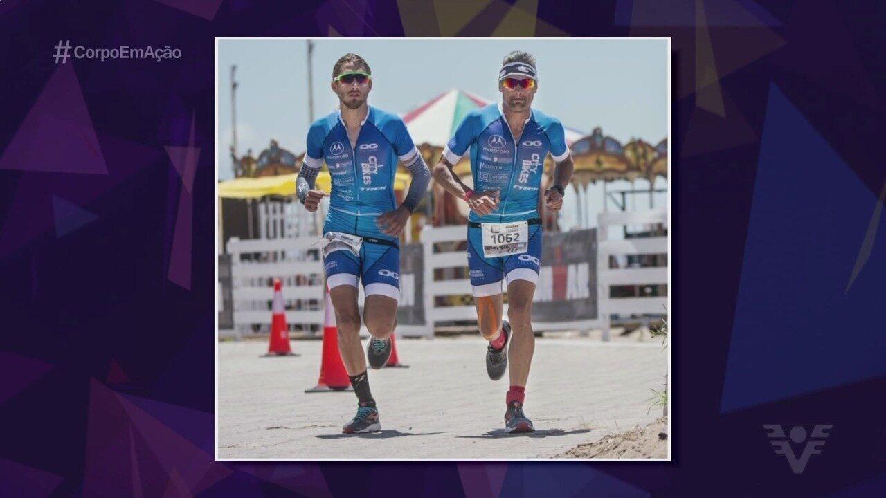 Oscar Galíndez passa amor pelo triatlo para o filho, Thomaz