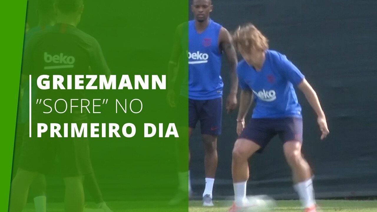 Fecha a perna! Griezmann é feito de bobo em primeiro treino no Barcelona