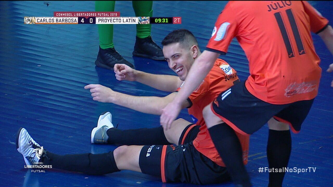 Os gols de Carlos Barbosa 5 x 0 Proyecto Latín-BOL pela Libertadores de Futsal