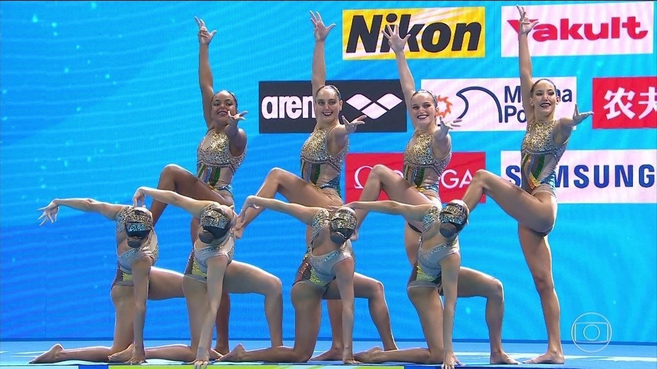 Atletas do nado artístico fazem bonito no Mundial de Esportes Aquáticos, na Coreia do Sul