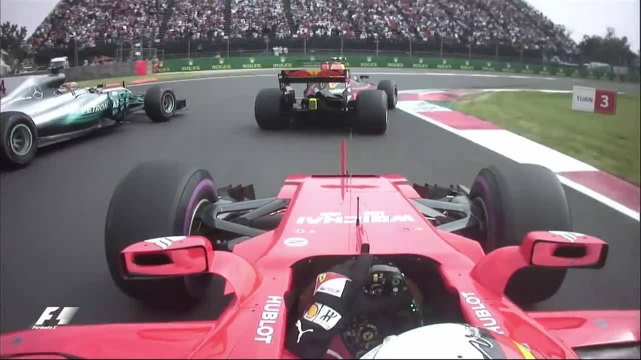 Vettel, Verstappen e Hamilton se enroscam na largada do GP do México de 2017