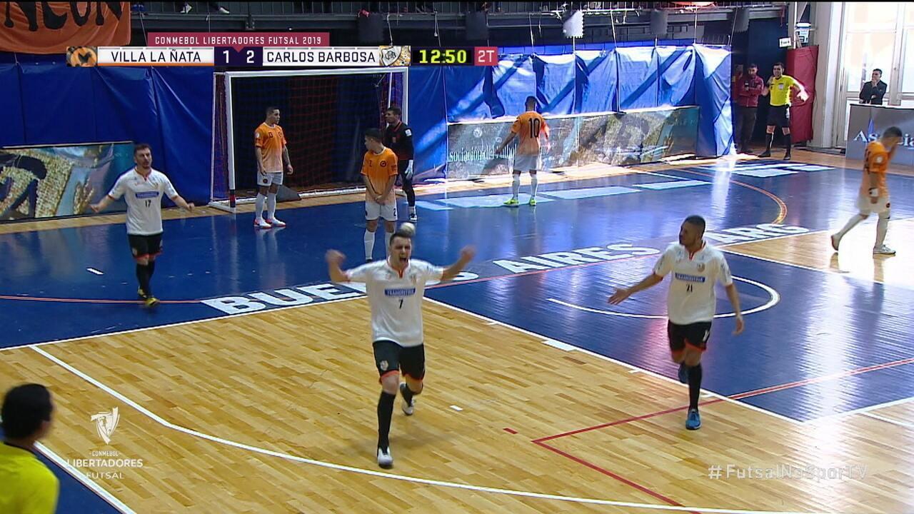 Os gols de Villa La Ñata 2 x 3 Carlos Barbosa pela Taça Libertadores de futsal