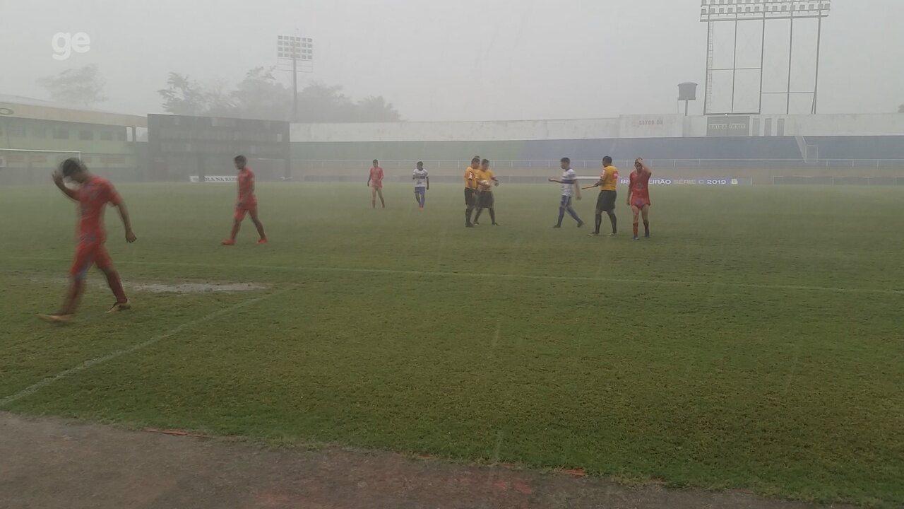 Chuva com granizo força paralisação de jogo do Campeonato Acreano Sub-20
