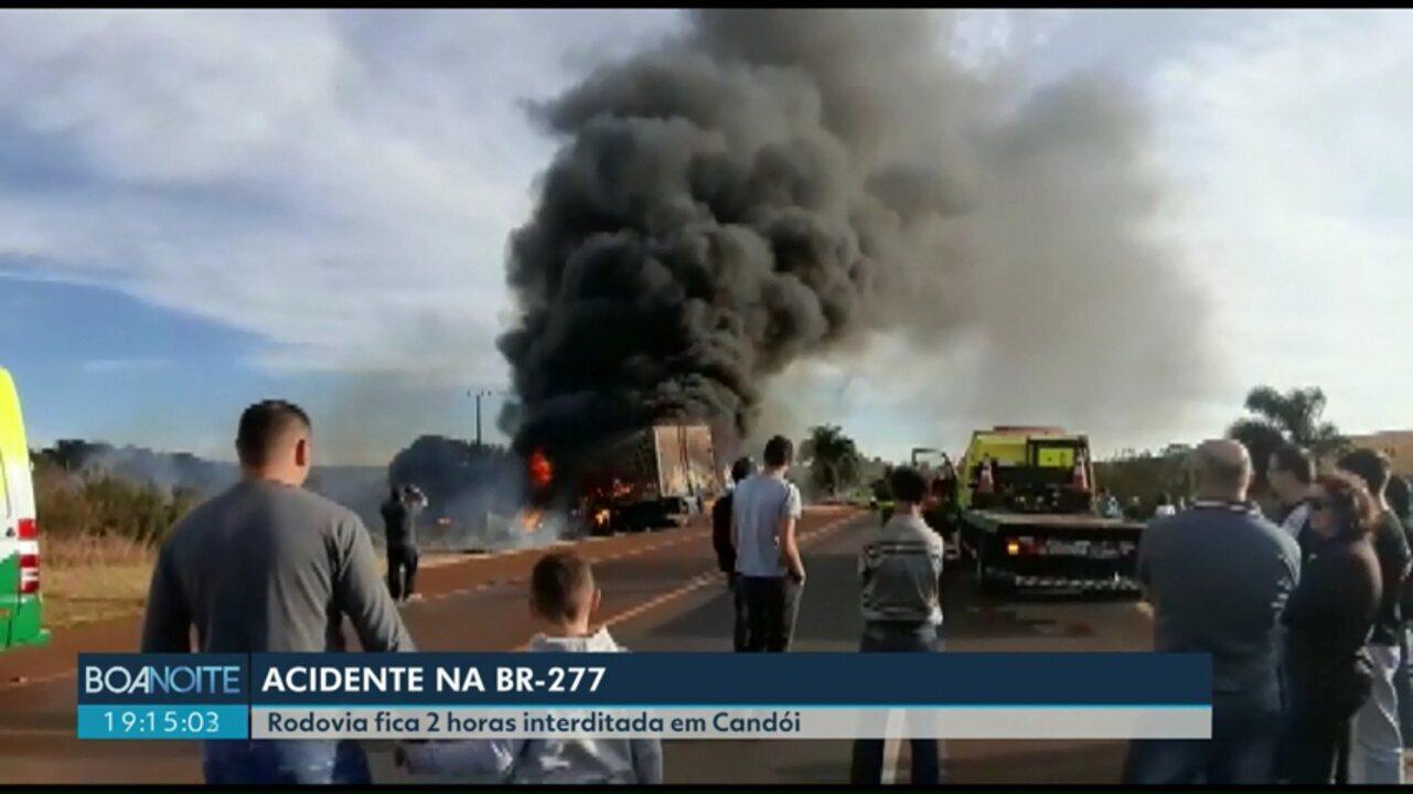 Acidente grave deixa BR-277 interditada por duas horas, em Candói