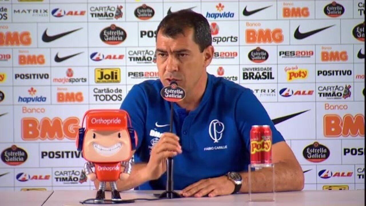 Veja um trecho da entrevista do técnico Fábio Carille, do Corinthians