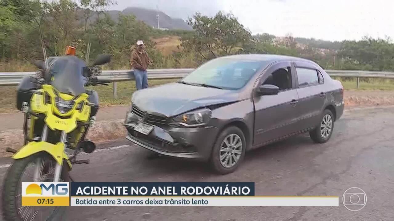 Engavetamento deixa trânsito complicado no Anel Rodoviário de BH nesta segunda-feira