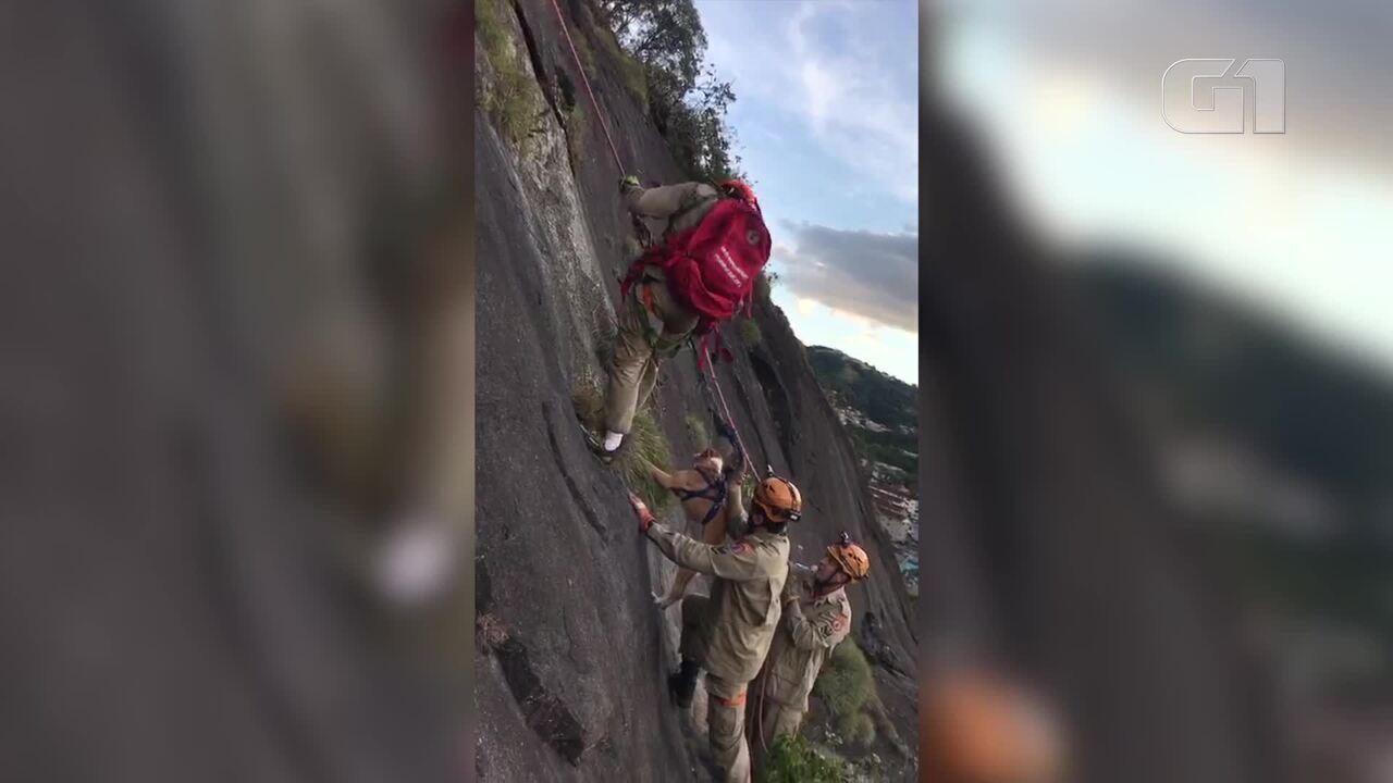 Bombeiros resgatam cadela usando técnicas de rapel em Petrópolis, no RJ