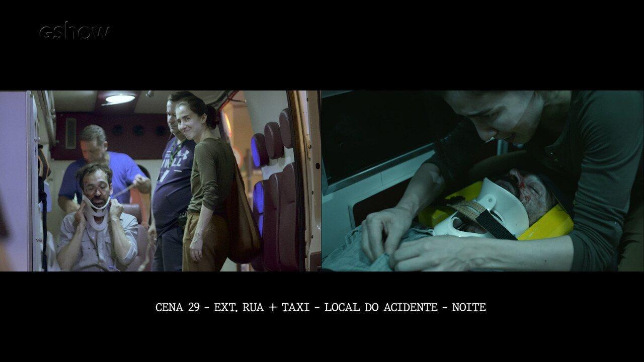 Assista aos bastidores da cena emocionante do acidente de Evandro em 'Sob Pressão'