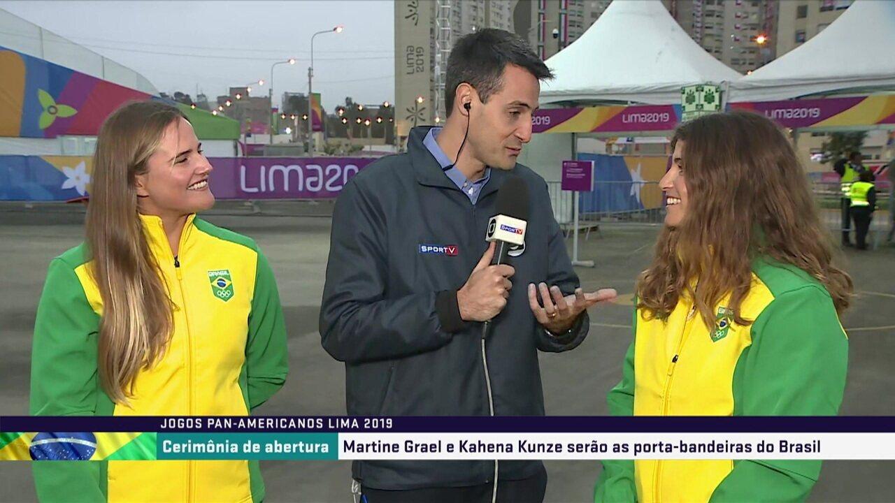 Marine Grael e Kahena Kunze falam sobre a escolha delas pra serem porta-bandeiras em Lima