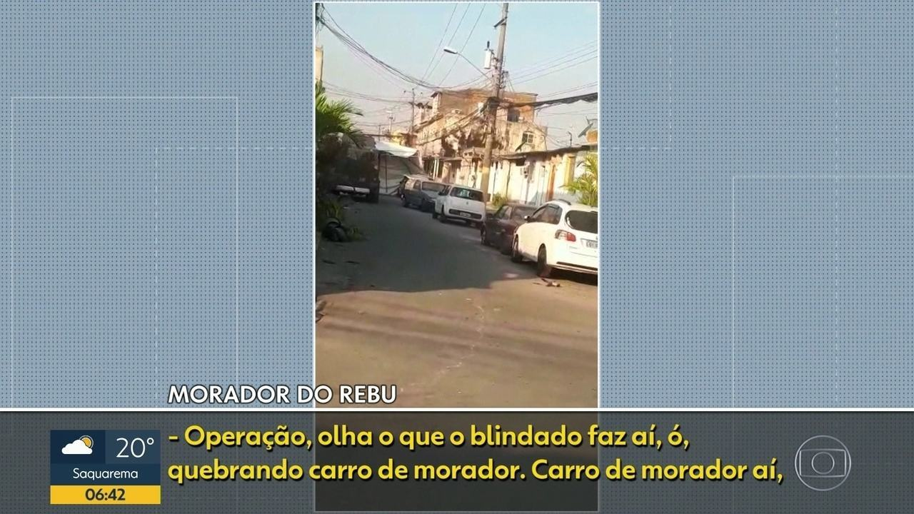 Moradores denunciam que caveirão da PM destruiu carros em comunidade de Senador Camará