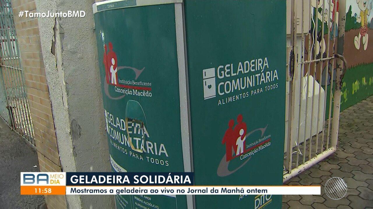 Geladeira comunitária inaugurada na segunda-feira é alvo de bandidos