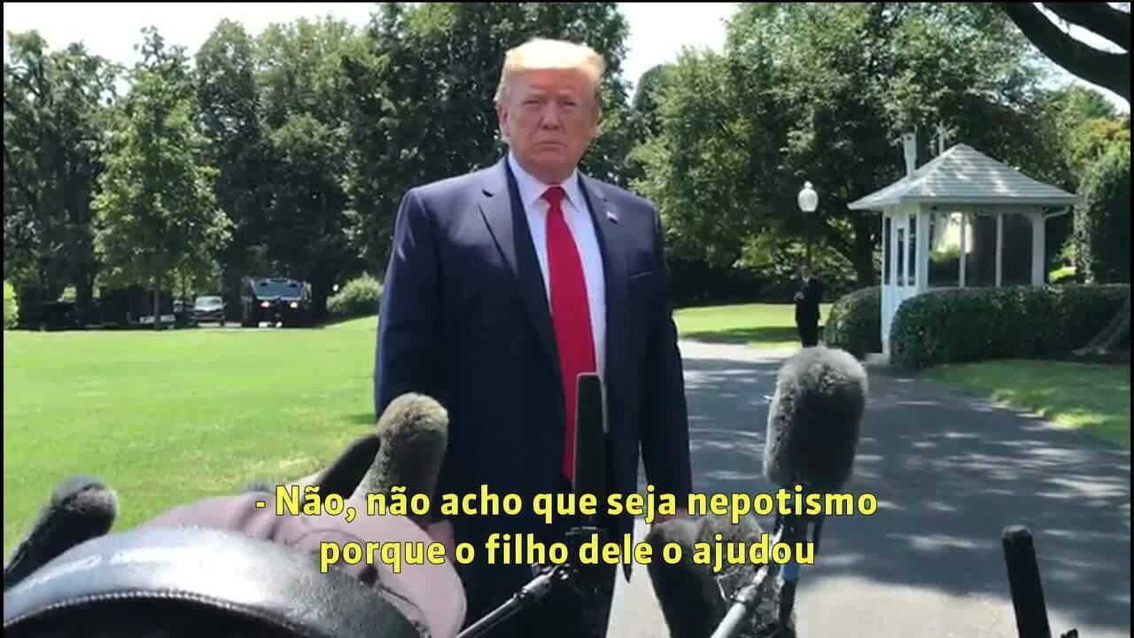 Trump elogia indicação de Eduardo Bolsonaro para embaixada: 'Não acho que seja nepotismo'