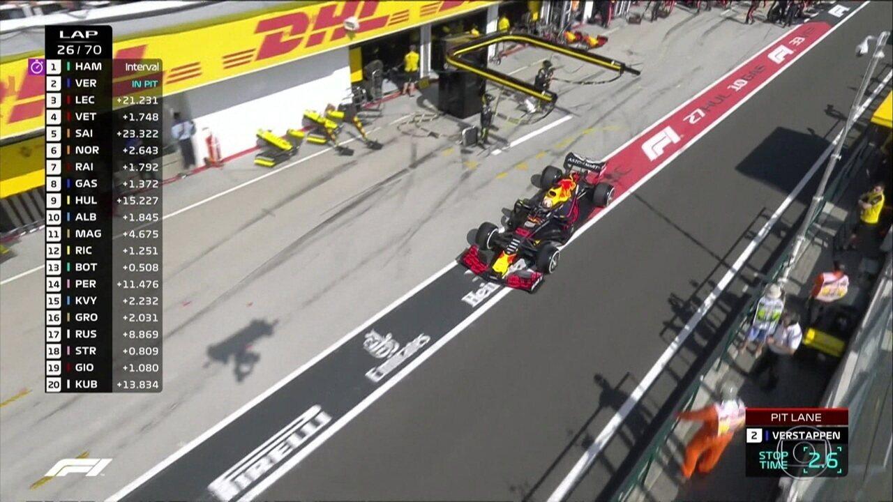 Max Verstppen vai para os boxes na volta 25 do GP da Hungria