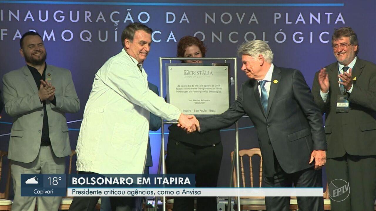 Em Itapira, Bolsonaro critica demora da Anvisa para liberar registros
