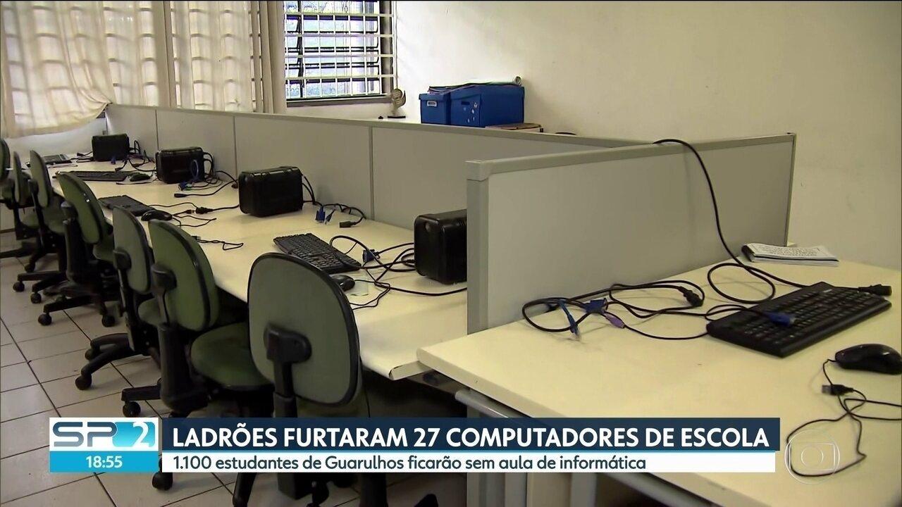 Ladrões furtam 27 computadores de escola pública em Guarulhos