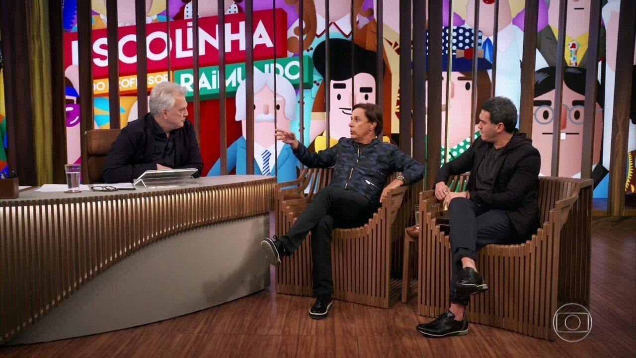 Tom Cavalcante e Marcos Veras relembram experiências com vendas