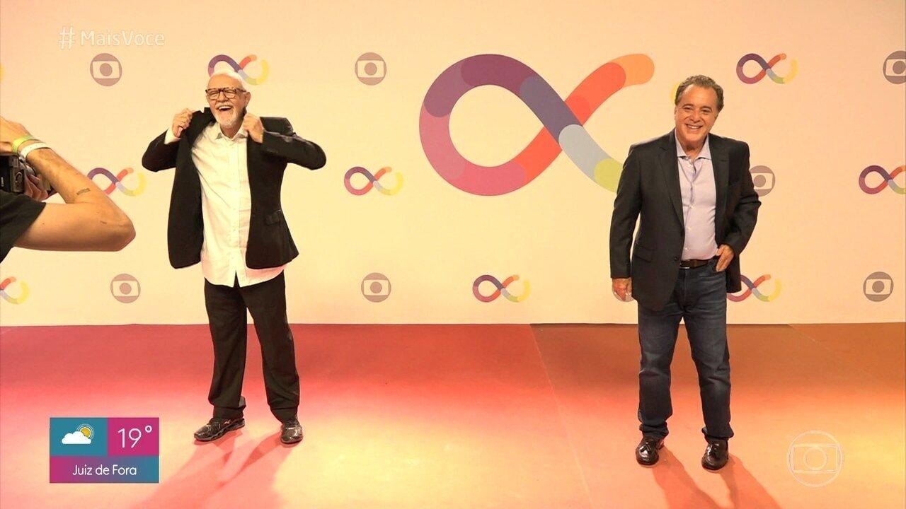 Elenco festeja a inauguração dos novos estúdios do Entretenimento da Globo