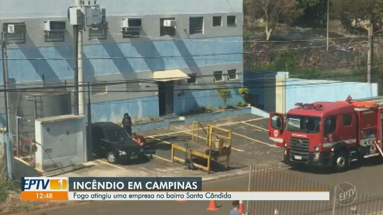 Incêndio atinge fábrica de papelão em Campinas