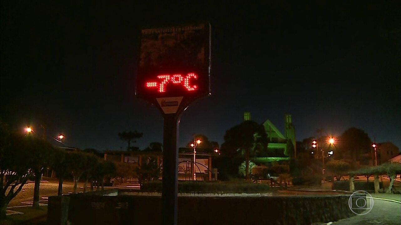 Onda de frio atinge as regiões Sul e Sudeste do Brasil