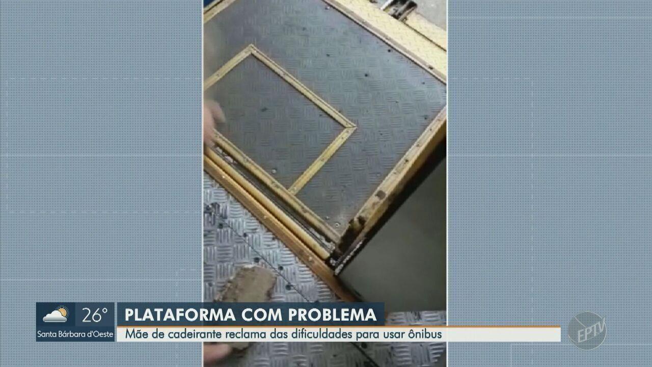 Mãe de cadeirante mostra dificuldade em ônibus com elevador quebrado em Campinas