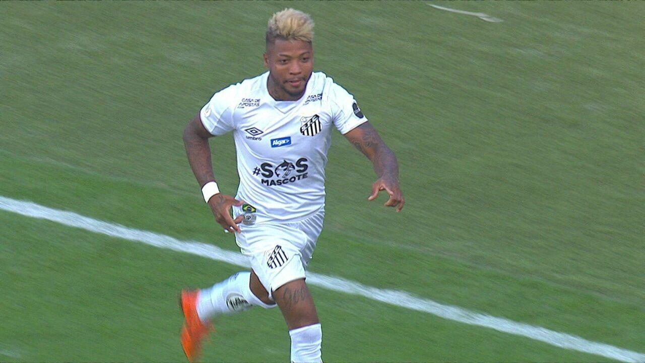 Gol do Santos! Sasha encontra Marinho na grande área para chutar no canto direito de Felipe Alves, em 1 do 1º tempo