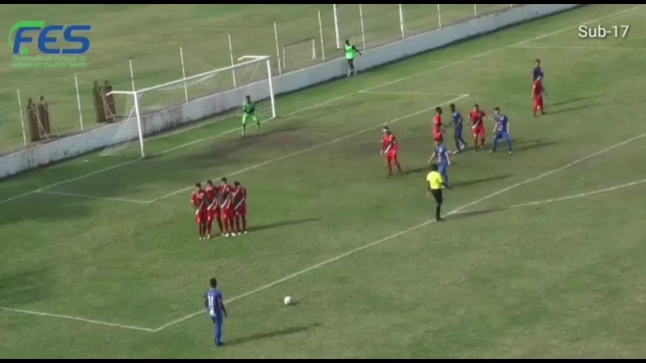O gol de Real Noroeste 0 x 1 Vitória-ES, pelo Campeonato Capixaba Sub-17 2019