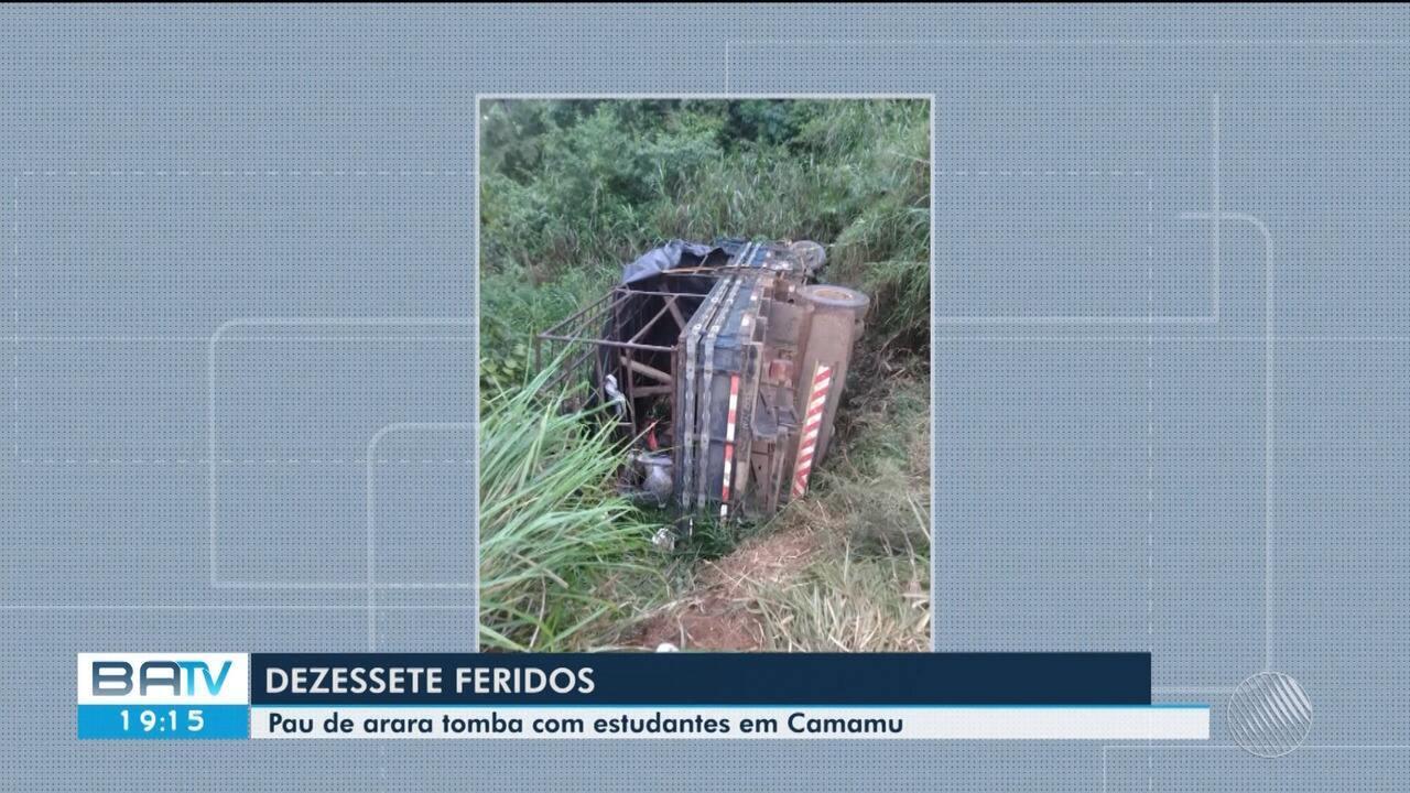 Pais de alunos feridos em acidente com caminhão 'pau de arara' reclamam de transporte