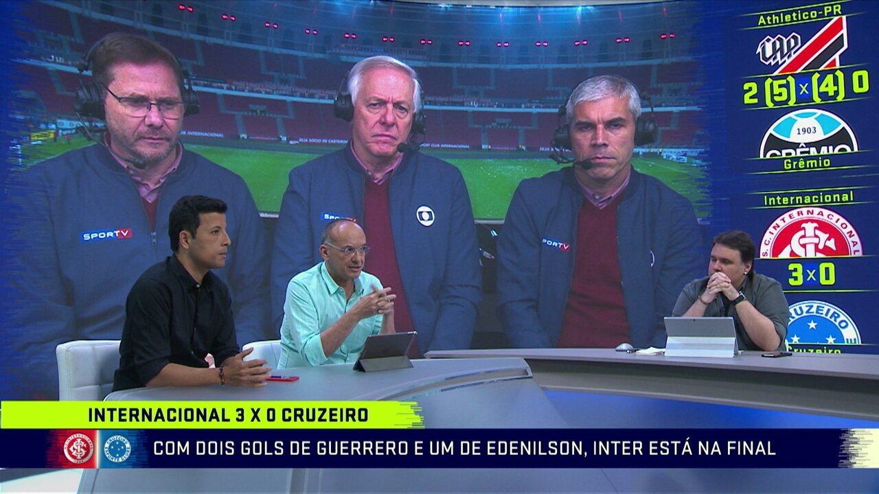 Comentaristas destacam superioridade do Inter contra o Cruzeiro na semifinal da Copa do Brasil