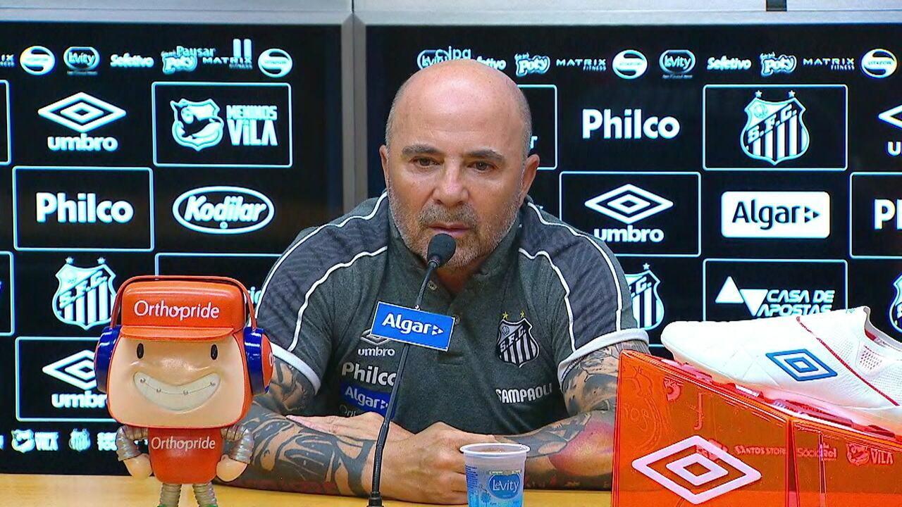 Veja a entrevista coletiva de Jorge Sampaoli após o empate do Santos com o Athletico-PR