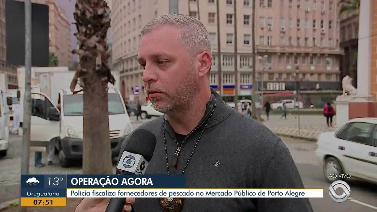 Polícia fiscaliza fornecedores de pescado no Mercado Público de Porto Alegre
