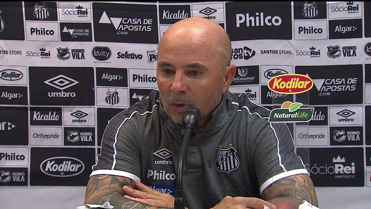 Técnico do Santos, Jorge Sampaoli fala após derrota para o Flamengo no Maracanã