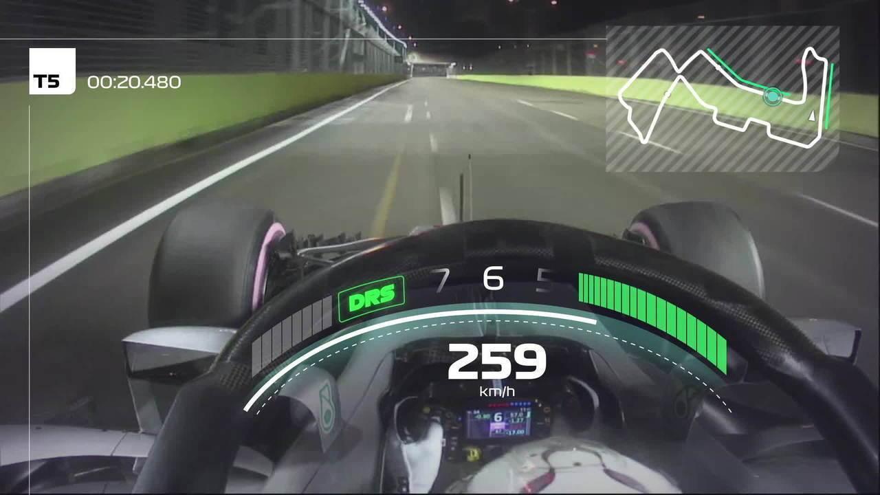 Dê uma volta pelo Circuito de Rua de Marina Bay com Lewis Hamilton, pole de 2018