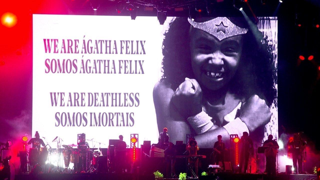 Emicida e Ibeyi homenageiam a menina Ágatha Félix no Rock in Rio