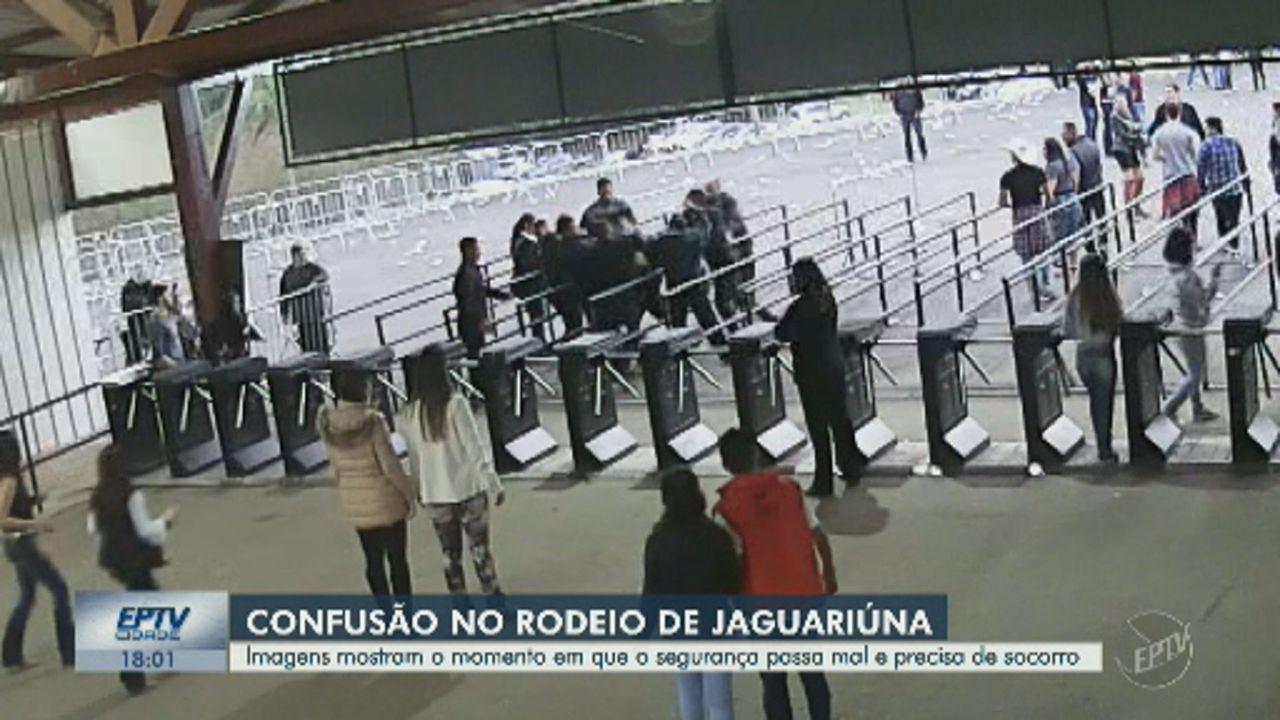 Câmera de segurança do Rodeio de Jaguariúna mostra confusão e socorro a segurança