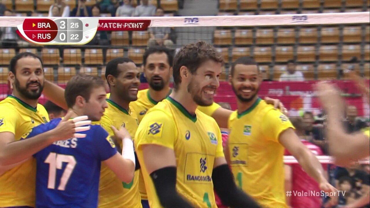 Pontos finais de Brasil 3 x 0 Rússia pela Copa do Mundo de vôlei masculino