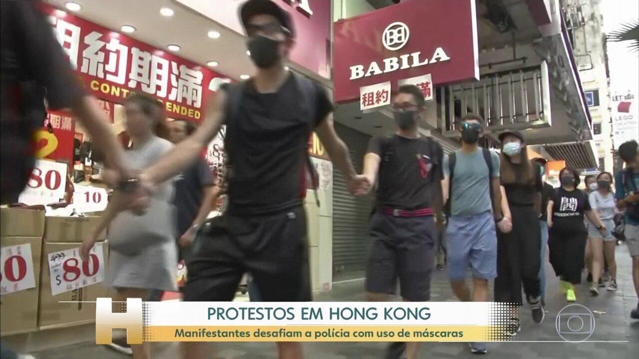 Manifestantes desafiam a proibição de máscaras em Hong Kong