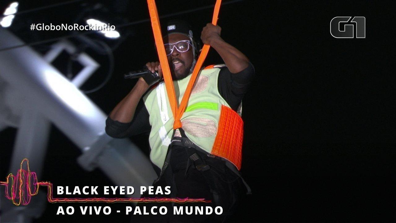 Cantor do Black Eyed Peas desce de tirolesa no Rock in Rio