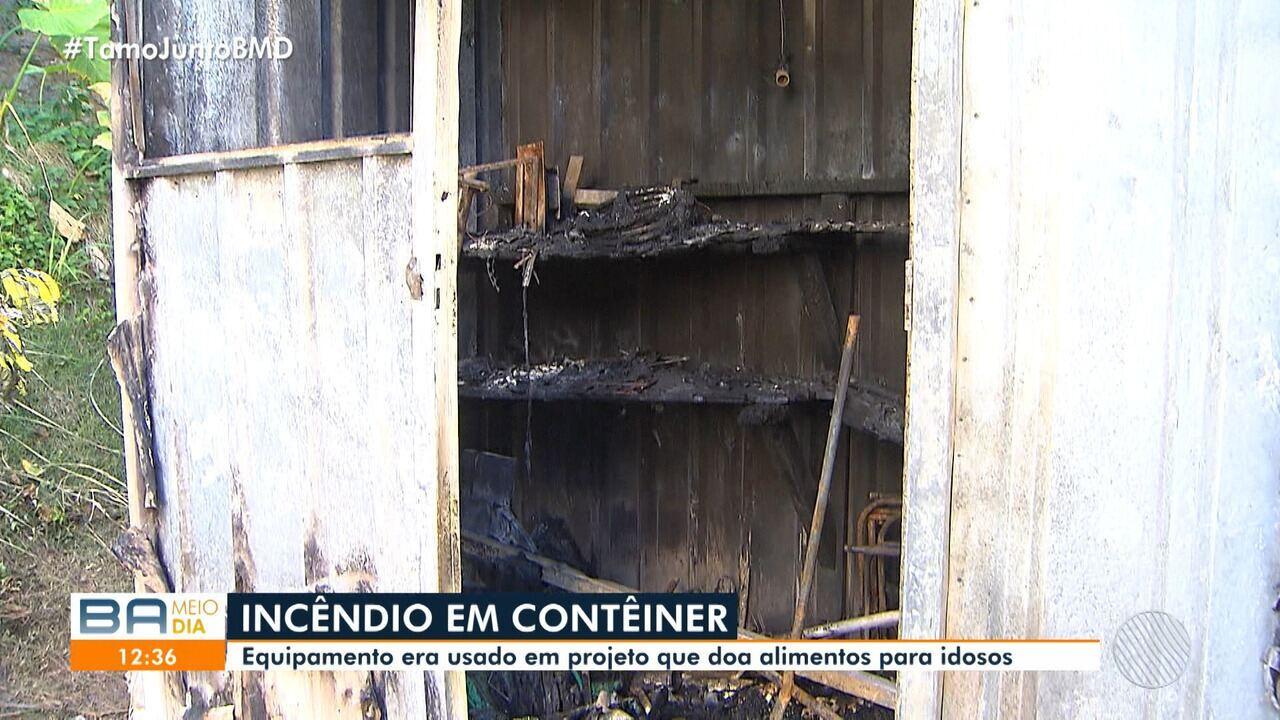 Destruição: contêiner com equipamentos é atingido por incêndio no domingo em Salvador