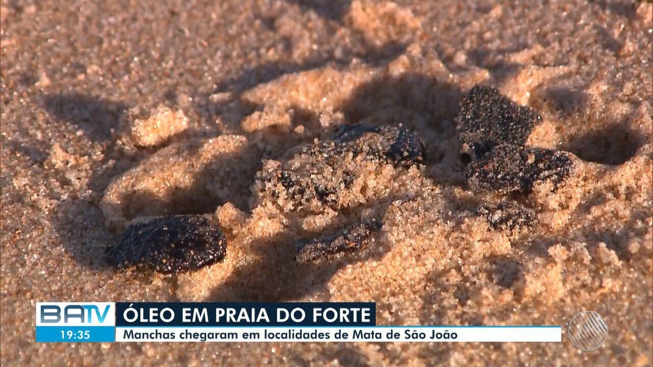 Manchas de óleo chegam à Praia do Forte, em Mata do São João