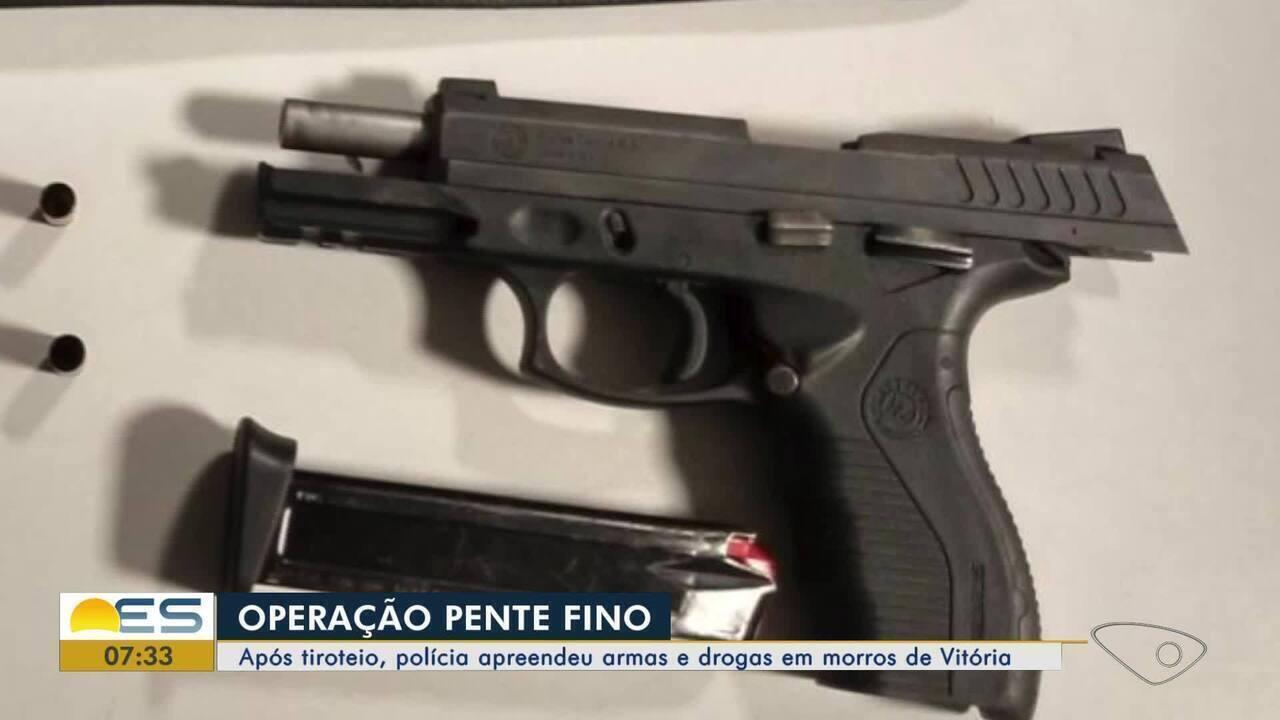 Após tiroteio, polícia apreende armas e drogas em morros de Vitória