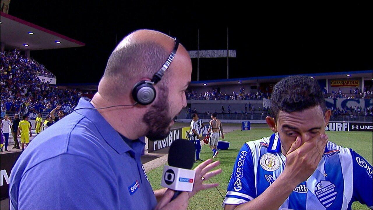 Emocionado, Dawhan fala sobre pênalti sofrido na vitória do CSA sobre o Internacional
