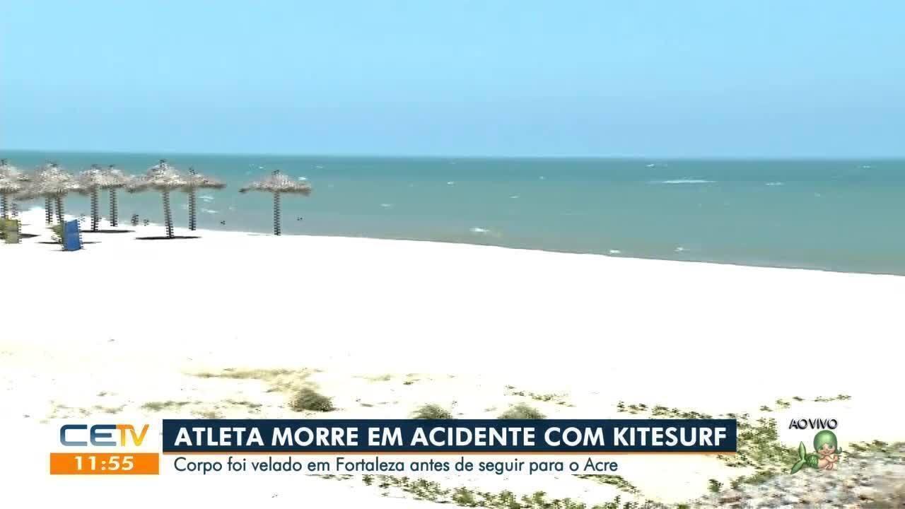 Corpo de atleta morto em acidente com kitesurfe é velado em Fortaleza e segue para o Acre