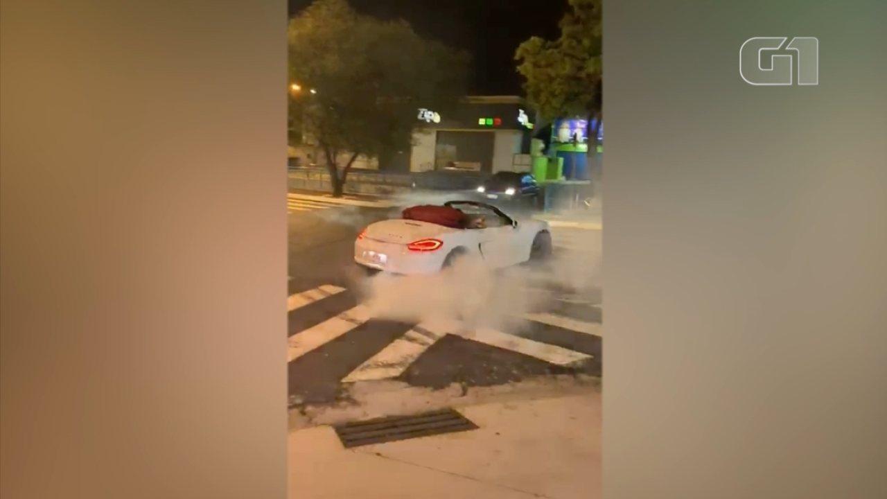 Motorista com carro de luxo é flagrado fazendo manobras em avenida de Itu