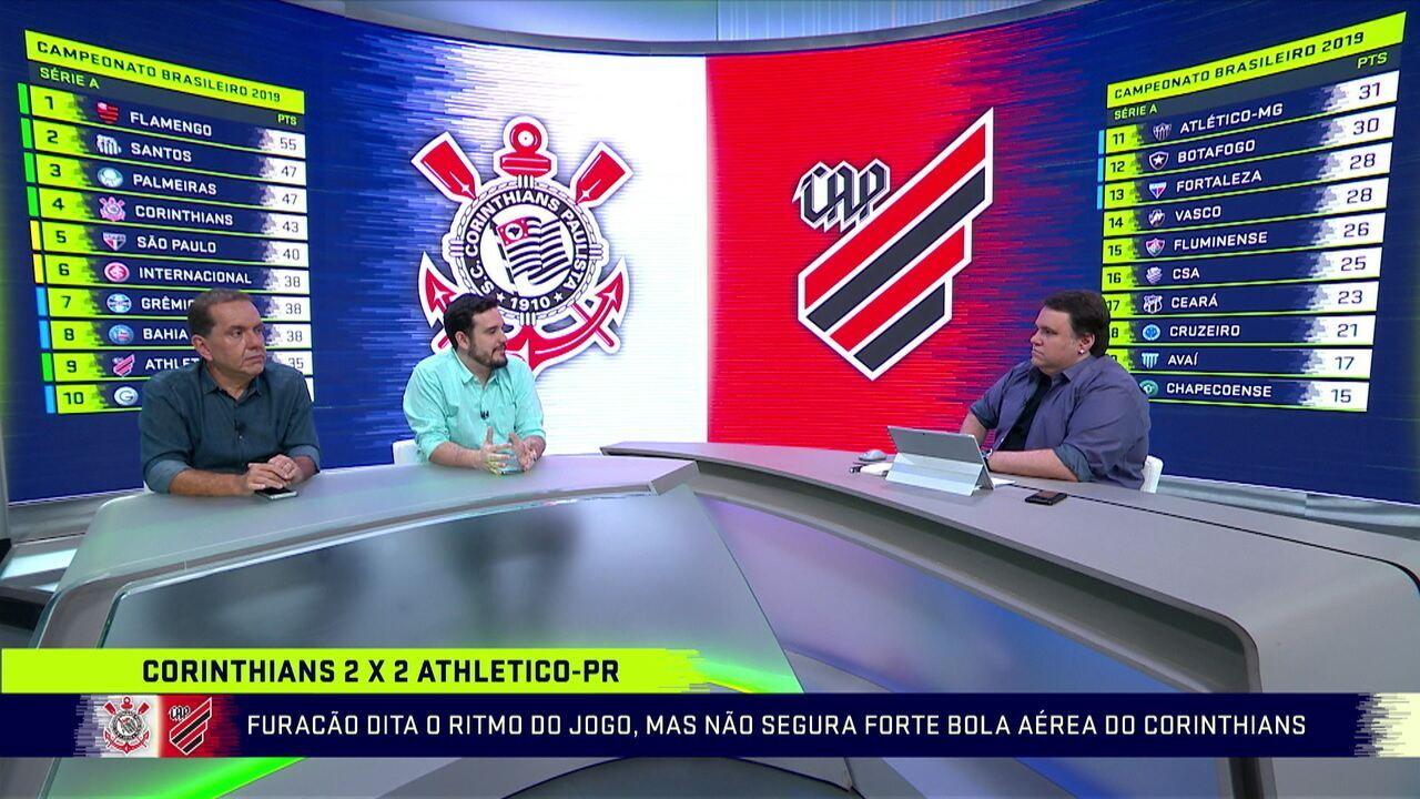 Athletico-PR dita o ritmo do jogo, mas não segura bola aérea do Corinthians
