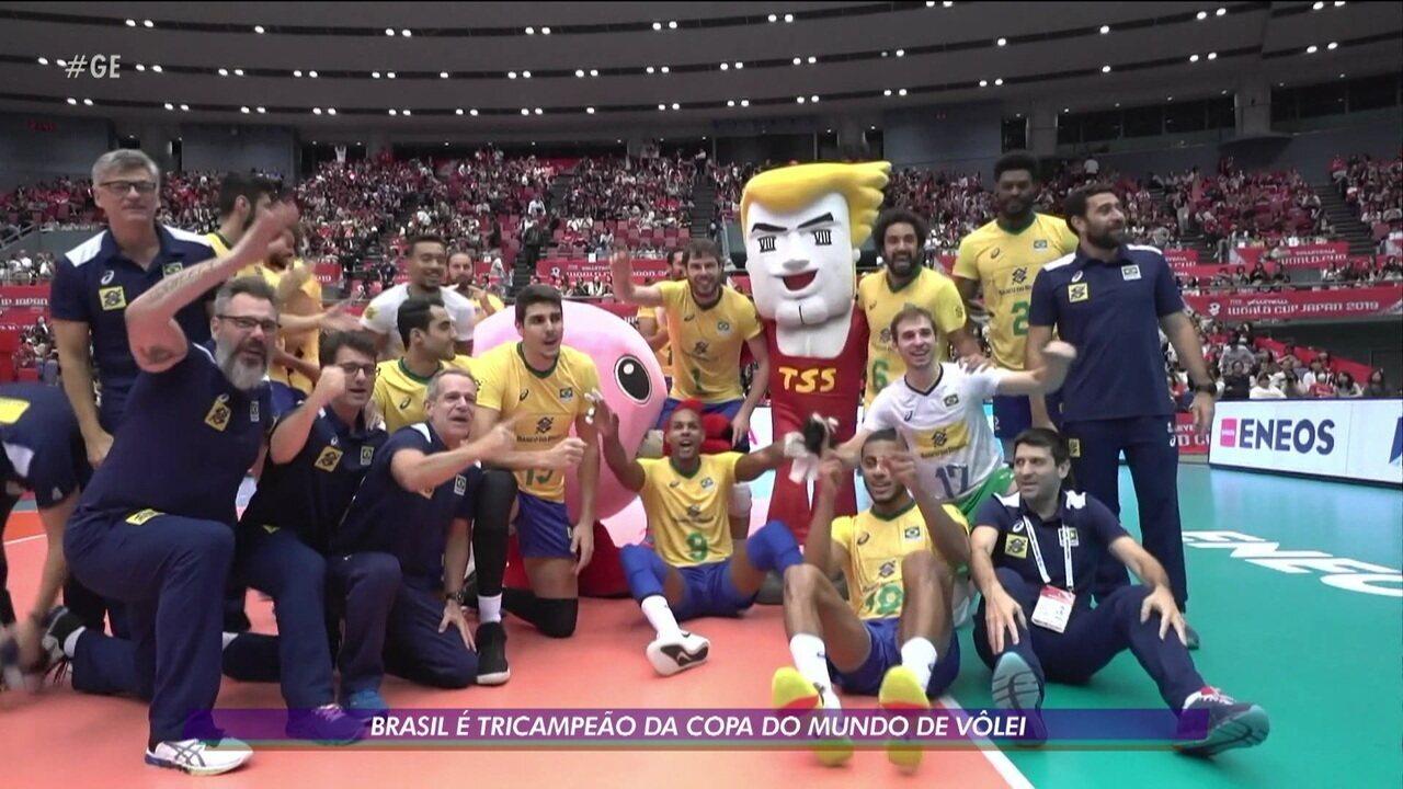Brasil vence o Japão e se torna tricampeão da Copa do Mundo de vôlei masculino