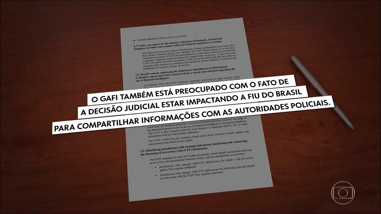 Relatório do GAFI mostra preocupação sobre veto a dados do antigo COAF